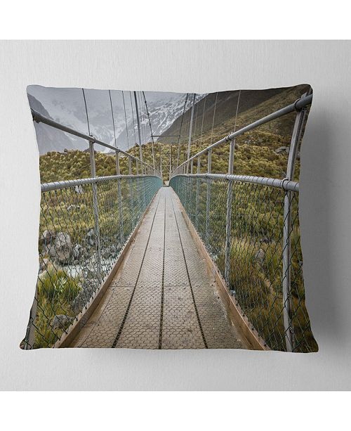 "Design Art Designart Bridge Over Hooker River In Aoraki Bridge Throw Pillow - 16"" X 16"""