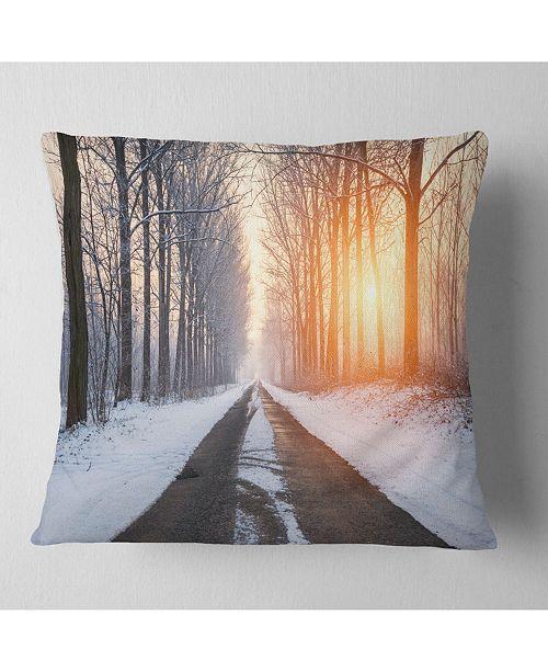 "Design Art Designart Bright Sun Break In Winter Forest Forest Throw Pillow - 16"" X 16"""