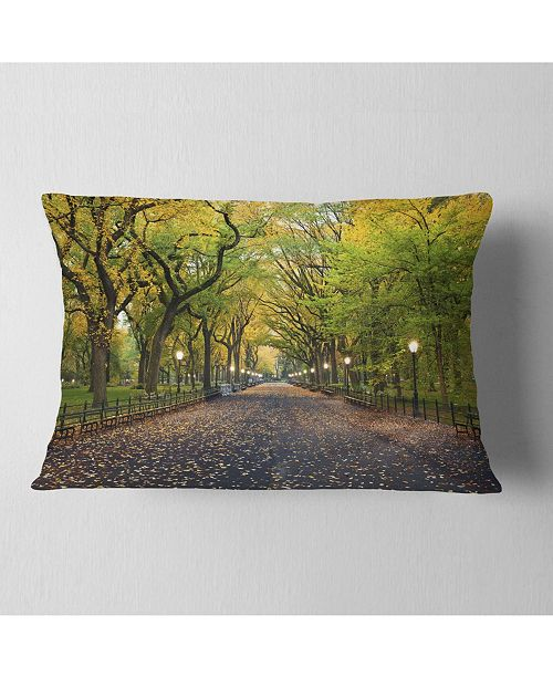 "Design Art Designart The Mall Area In Central Park Landscape Printed Throw Pillow - 12"" X 20"""