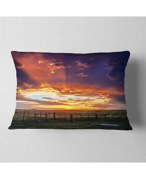 "Design Art Designart Dramatic Sunset Over Prairie Landscape Printed Throw Pillow - 12"" X 20"""