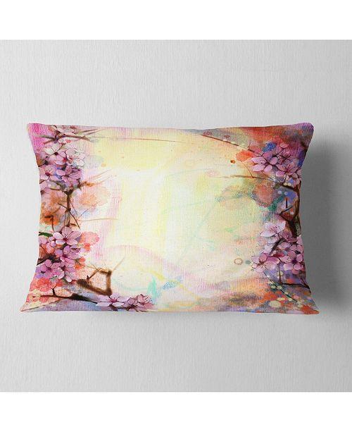 "Design Art Designart Pink Sakura On Blurred Background Floral Throw Pillow - 12"" X 20"""
