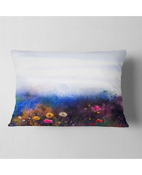 """Design Art Designart Watercolor Painting Flower In Meadow Floral Throw Pillow - 12"""" X 20"""""""