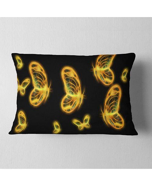 """Design Art Designart Fractal Butterflies On Dark Background Floral Throw Pillow - 12"""" X 20"""""""