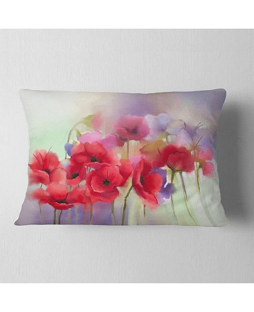 "Design Art Designart Watercolor Red Poppy Flowers Painting Floral Throw Pillow - 12"" X 20"""