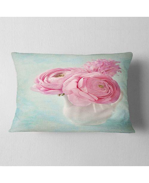"Design Art Designart Pink Ranunculus Flowers In Vase Floral Throw Pillow - 12"" X 20"""