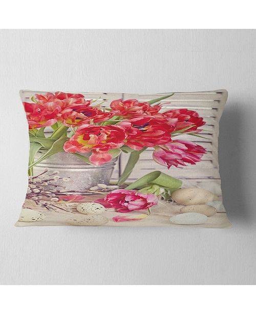 "Design Art Designart Tulip Flowers And Easter Eggs Floral Throw Pillow - 12"" X 20"""
