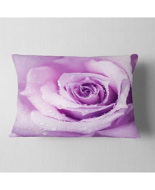 """Design Art Designart Purple Wet Rose Background Flowers Throw Pillowwork - 12"""" X 20"""""""