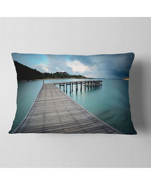 "Design Art Designart Wooden Bridge To Calm Ocean Modern Throw Pillow - 12"" X 20"""
