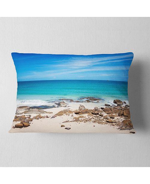 "Design Art Designart Beach At Samed Island Thailand Seashore Photo Throw Pillow - 12"" X 20"""