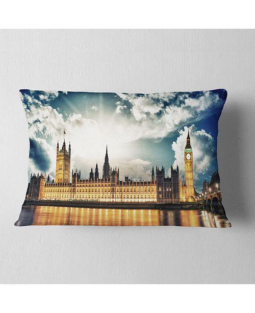 """Design Art Designart Big Ben Uk And House Of Parliament Throw Pillow - 12"""" X 20"""""""
