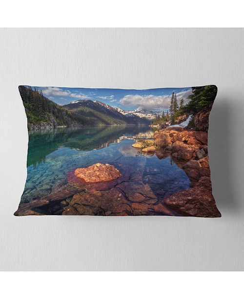 """Design Art Designart Clear Lake With Distant Mountains Landscape Printed Throw Pillow - 12"""" X 20"""""""