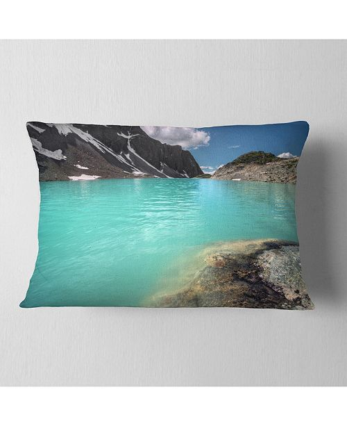 "Design Art Designart Crystal Clear Mountain Lake Landscape Printed Throw Pillow - 12"" X 20"""