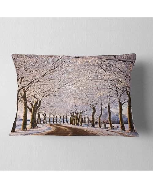 "Design Art Designart Trees And Road In White Winter Landscape Printed Throw Pillow - 12"" X 20"""