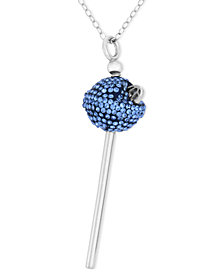 SIS by Simone I Smith Platiunum Over Sterling Silver Necklace, Blue Crystal Mini Lollipop Pendant