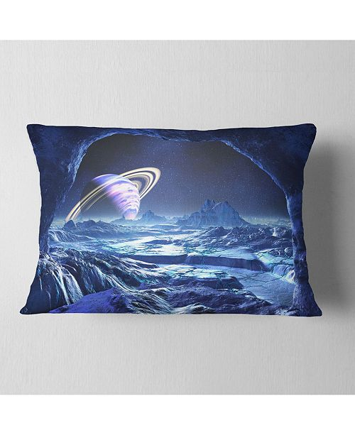 "Design Art Designart Electric Blue Alien World Landscape Printed Throw Pillow - 12"" X 20"""