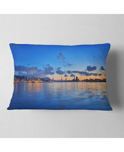 """Design Art Designart Hong Kong Skyline At Summer Night Abstract Throw Pillow - 12"""" X 20"""""""