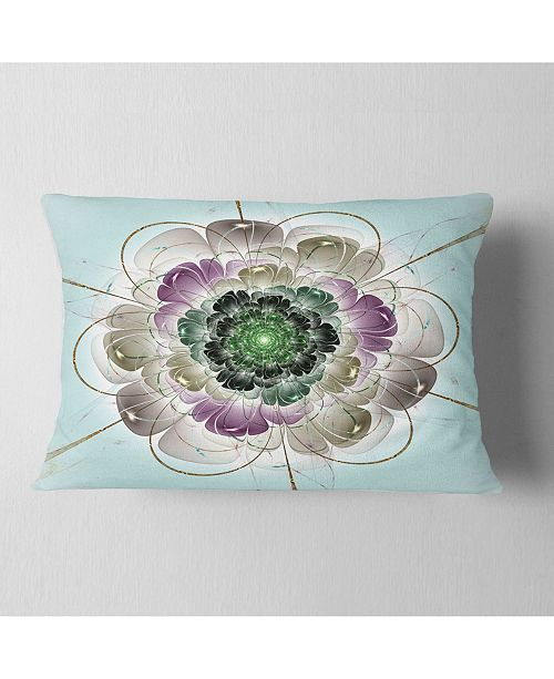 "Design Art Designart Dark Blue Fractal Flower Pattern Abstract Throw Pillow - 12"" X 20"""