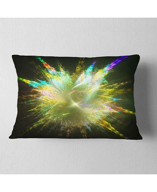"Design Art Designart Fractal Explosion Of Paint Drops Abstract Throw Pillow - 12"" X 20"""