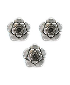 Stratton Home Decor Silver-tone Metal Wall Flowers Set of 3