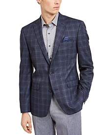 Men's Slim-Fit Blue Plaid Sport Coat, Created For Macy's