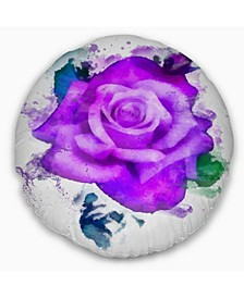 "Designart Hand Made Purple Rose Watercolor Floral Throw Pillow - 16"" Round"
