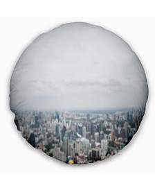 "Designart Panoramic Aerial View Of Big City Landscape Printed Throw Pillow - 16"" Round"