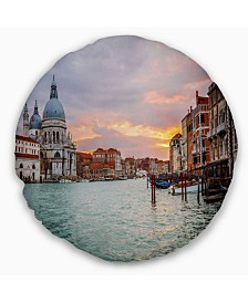 "Designart Santa Maria Della Salute Cityscape Throw Pillow - 16"" Round"