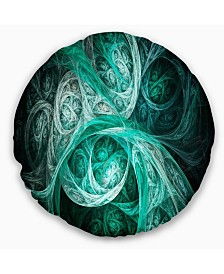 """Designart Mystic Turquoise Fractal Abstract Throw Pillow - 16"""" Round"""