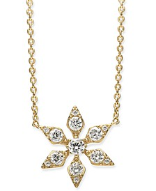 "Crystal Snowflake Pendant Necklace, 16"" + 1"" extender, Created for Macy's"