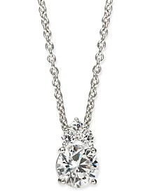 "Silver-Tone Cubic Zirconia Pendant Necklace, 16"" + 1"" extender, Created For Macy's"