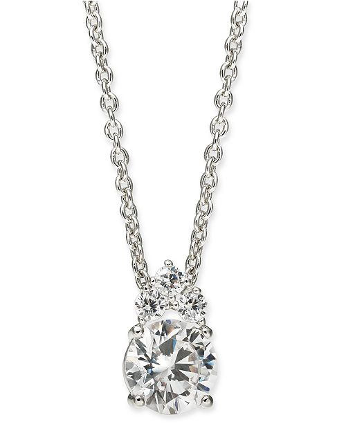 "Eliot Danori Silver-Tone Cubic Zirconia Pendant Necklace, 16"" + 1"" extender, Created For Macy's"