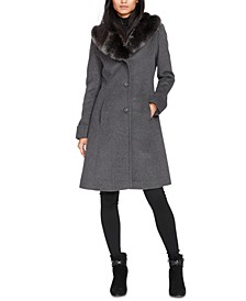 Petite Faux-Fur-Collar Walker Coat, Created For Macy's
