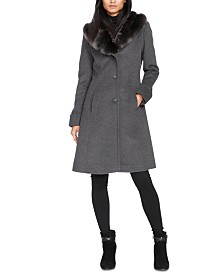 Lauren Ralph Lauren Petite Faux-Fur-Collar Walker Coat, Created For Macy's