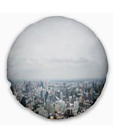 "Designart Panoramic Aerial View Of Big City Landscape Printed Throw Pillow - 20"" Round"