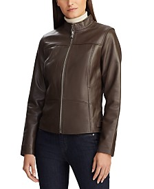 Lauren Ralph Lauren Front-Zip Leather Jacket