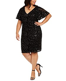 Plus Size Embossed-Sequin Velvet Dress
