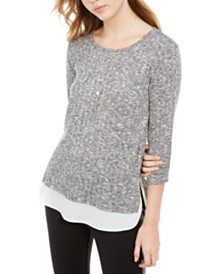 BCX Juniors' Rib-Knit Faux-Layered Top