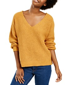 Hippie Rose Juniors' Chenille V-Neck Sweater