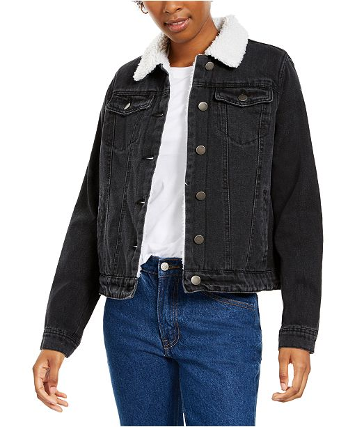 Jou Jou Juniors' Sherpa-Lined Denim Jacket