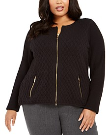Plus Size Quilted Zip-Up Sweater, Created For Macy's