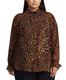 Lauren Ralph Lauren Plus Size Animal-Print Bishop-Sleeve Georgette Top