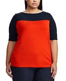 Plus Size Colorblock Boat-Neck Top