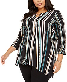 Plus Size Printed & Embellished Tunic Top, Created For Macy's