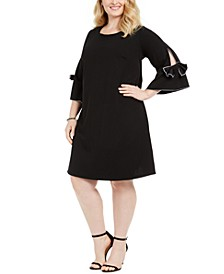 Plus Size Bow-Sleeve Shift Dress