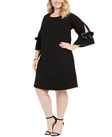 Robbie Bee Plus Size Bow-Sleeve Shift Dress