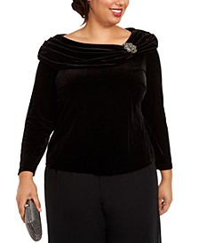 Plus Size Ruched-Collar Velvet Blouse
