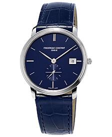 Frederique Constant Men's Swiss Slimline Quartz Blue Leather Strap Watch 37mm
