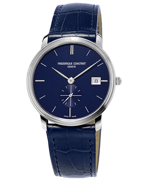 Frederique Constant Men's Swiss Slimline Quartz Blue Leather Strap Watch 37mm