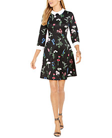 Pappagallo Collared Botanical A-Line Dress