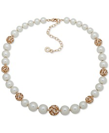 "Gold-Tone Pavé Filigree Ball & Imitation Pearl Collar Necklace, 16"" + 3"" extender"